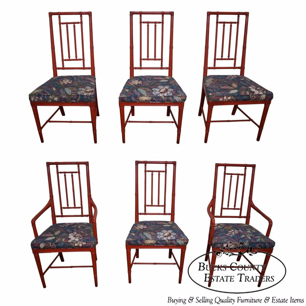Vintage Set Of 6 Faux Bamboo Painted Dining Chairs By