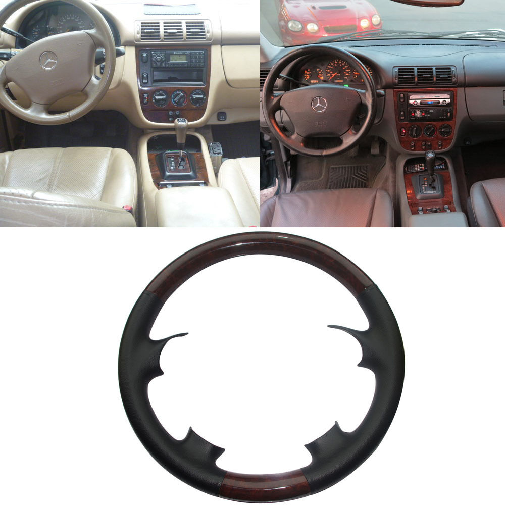 Black leather wood steering wheel cover mercedes 98 05 for Mercedes benz steering wheel cover