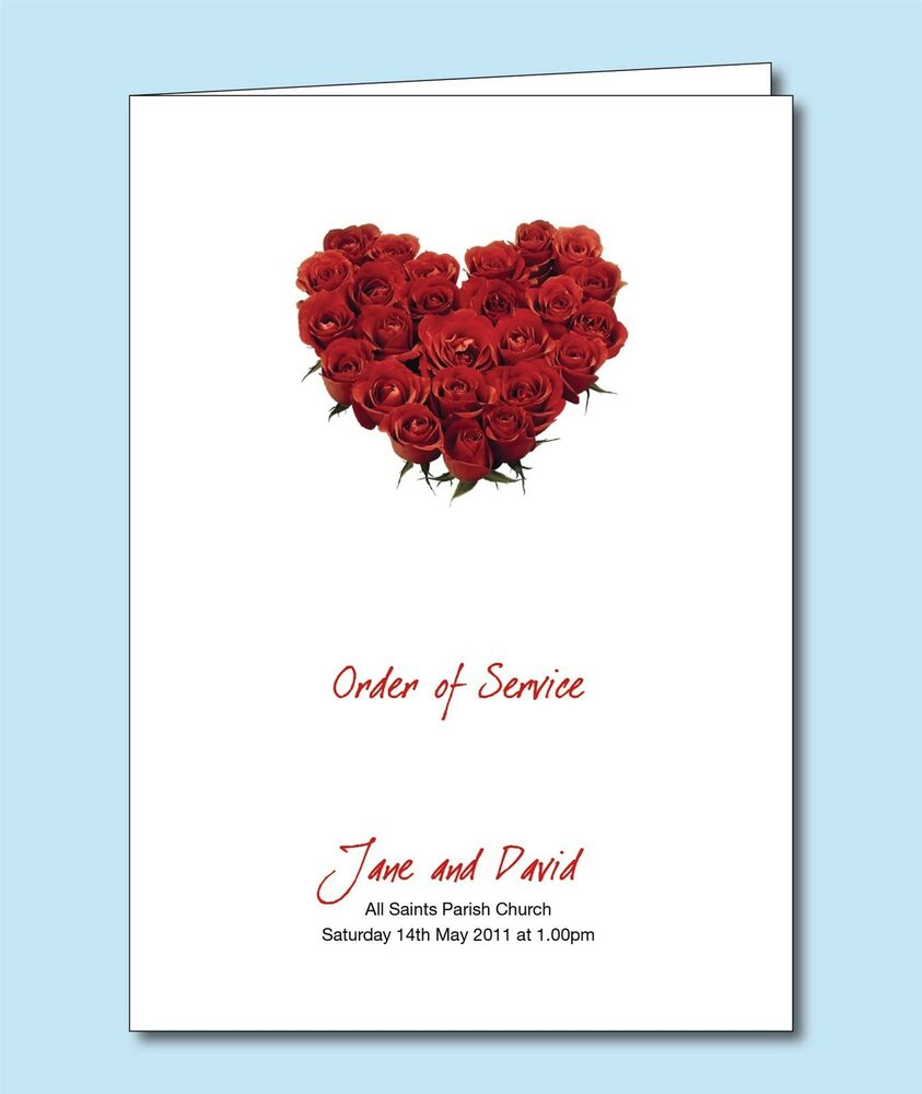 Personalised Wedding Order of Service / Day Cover Booklet. Red Rose ...
