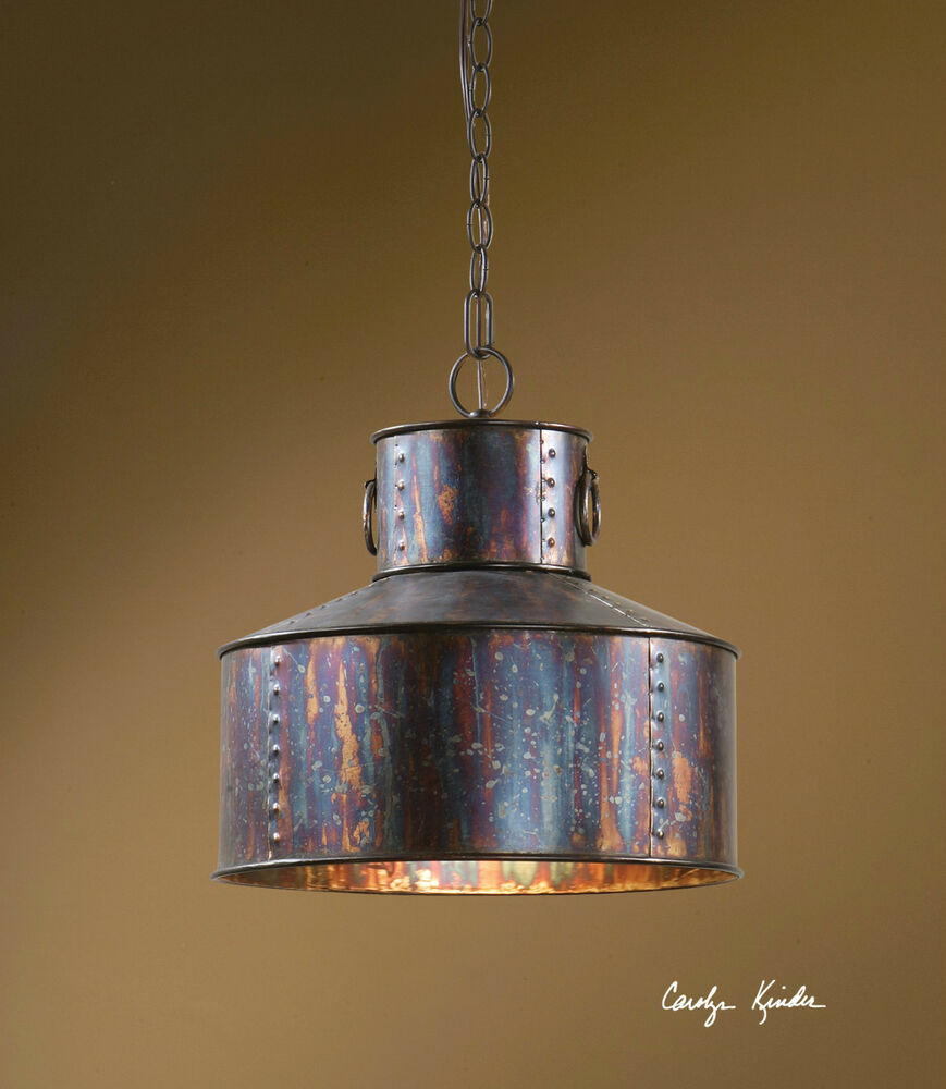 "NEW 15"" OXIDIZED BRONZE RUSTIC PENDANT HANGING CEILING"