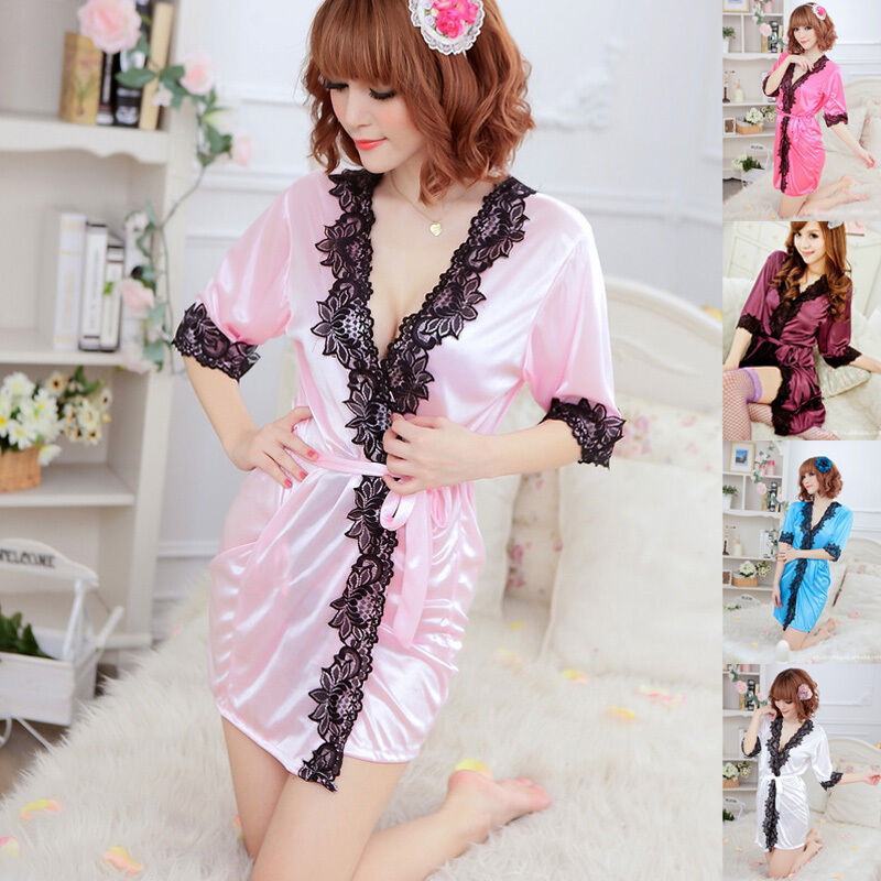 5 neu damen morgenmantel kimono bademantel satin hausmantel spitze negligee sexy ebay. Black Bedroom Furniture Sets. Home Design Ideas
