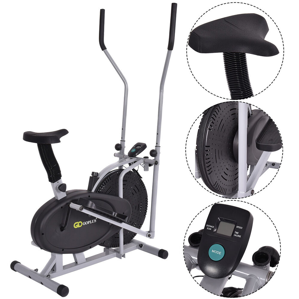 2 IN 1 Elliptical Fan Bike Cross Trainer Machine Exercise