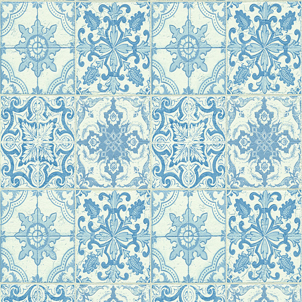 wallpaper moroccan style tile on roll tiling blue white