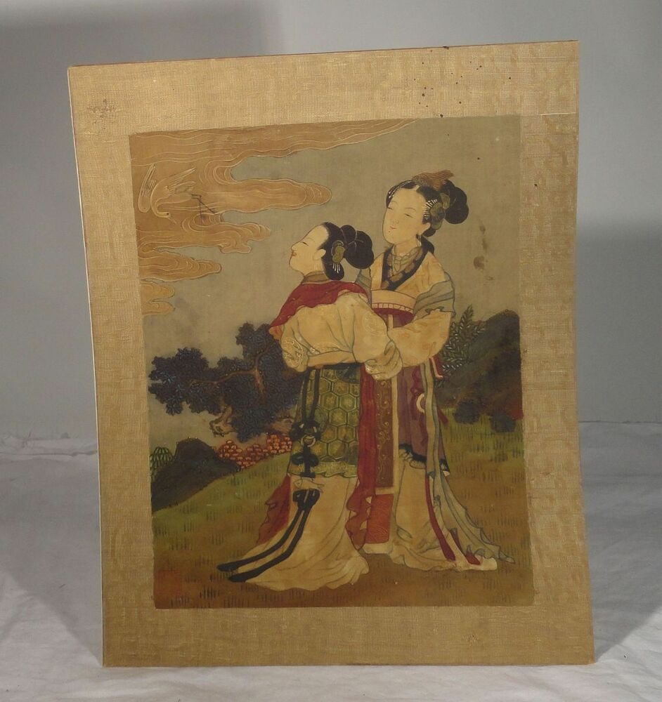 Antique Scrollimgs: Antique Chinese Fine Classical Scroll Painting Silk Signed