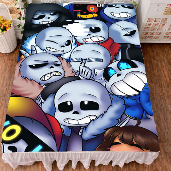 Anime Gmae Undertale Sans Flat Summer Bed Sheet Blanket Bedding Gift