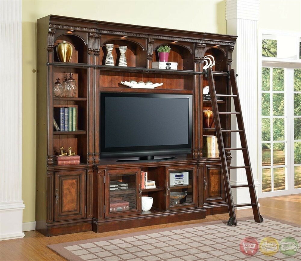 corsica library wall unit 60 inch tv stand space saver entertainment center ebay. Black Bedroom Furniture Sets. Home Design Ideas