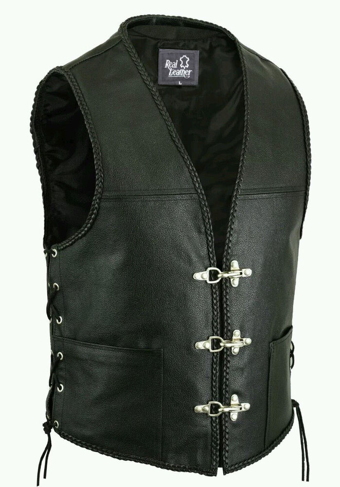 New Mens Real Leather Biker Waistcoat Fish Hook Buckle Braided Sides Laces Vest Ebay