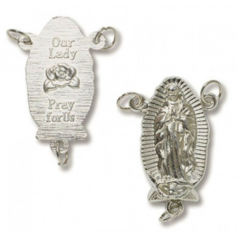 Our lady of guadalupe silver plated large rosary