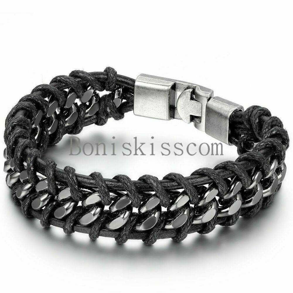 Leather Bracelets Mens Fashion
