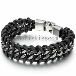 Kyпить Black Braided Leather Silver Stainless Steel Cuban Chain Men's Bracelet Bangle на еВаy.соm