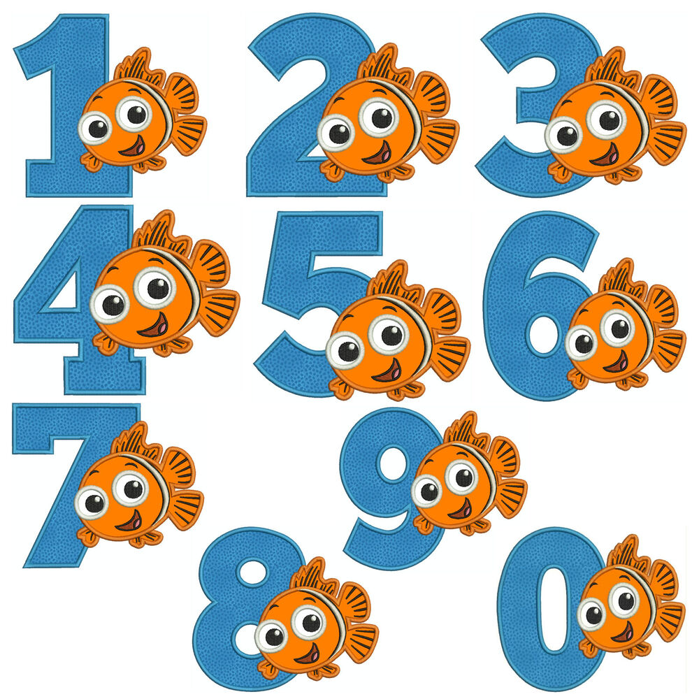 Nemo numbers machine applique embroidery patterns