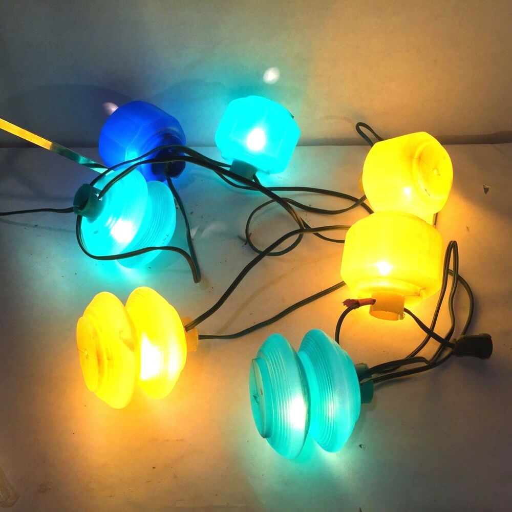 Vtg MCM Patio Tiki Lamps Blow Mold Camping RV Glamping Tiki 7 String Lights Set eBay