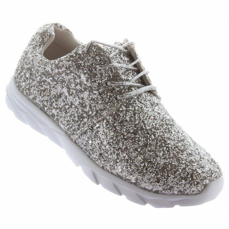 6a9e2d4d2d9 Womens Ladies Lace Up Glitter Sparkly Trainers Sneakers Gym Pumps Fitness  Size