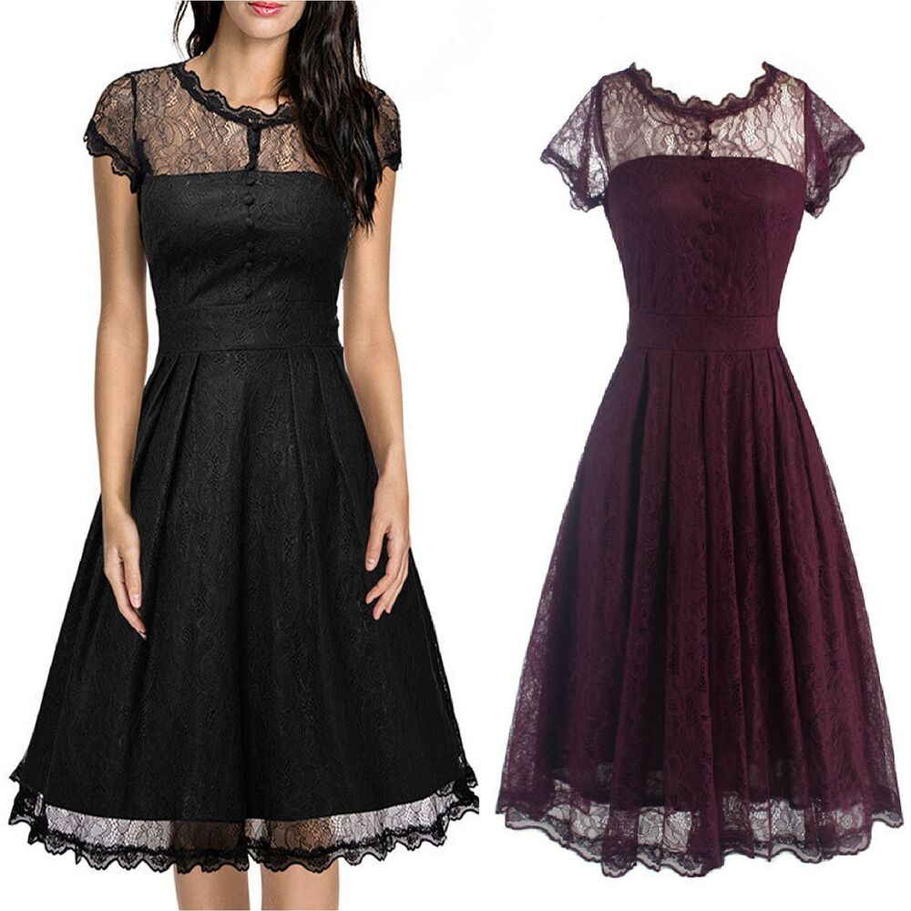 women 39 s 1950s vintage style retro evening party swing classic lace a line dress ebay. Black Bedroom Furniture Sets. Home Design Ideas