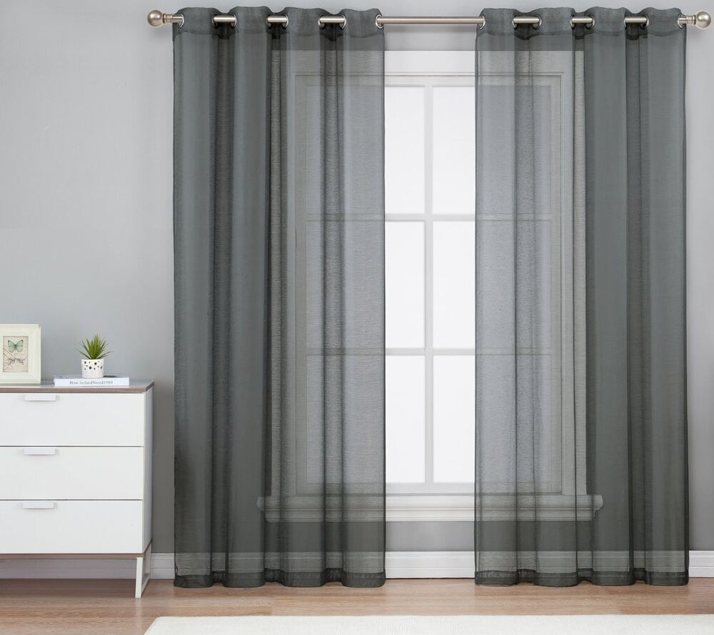 1PC GREY GROMMET VOILE SHEER PANEL WINDOW CURTAIN DRAPE