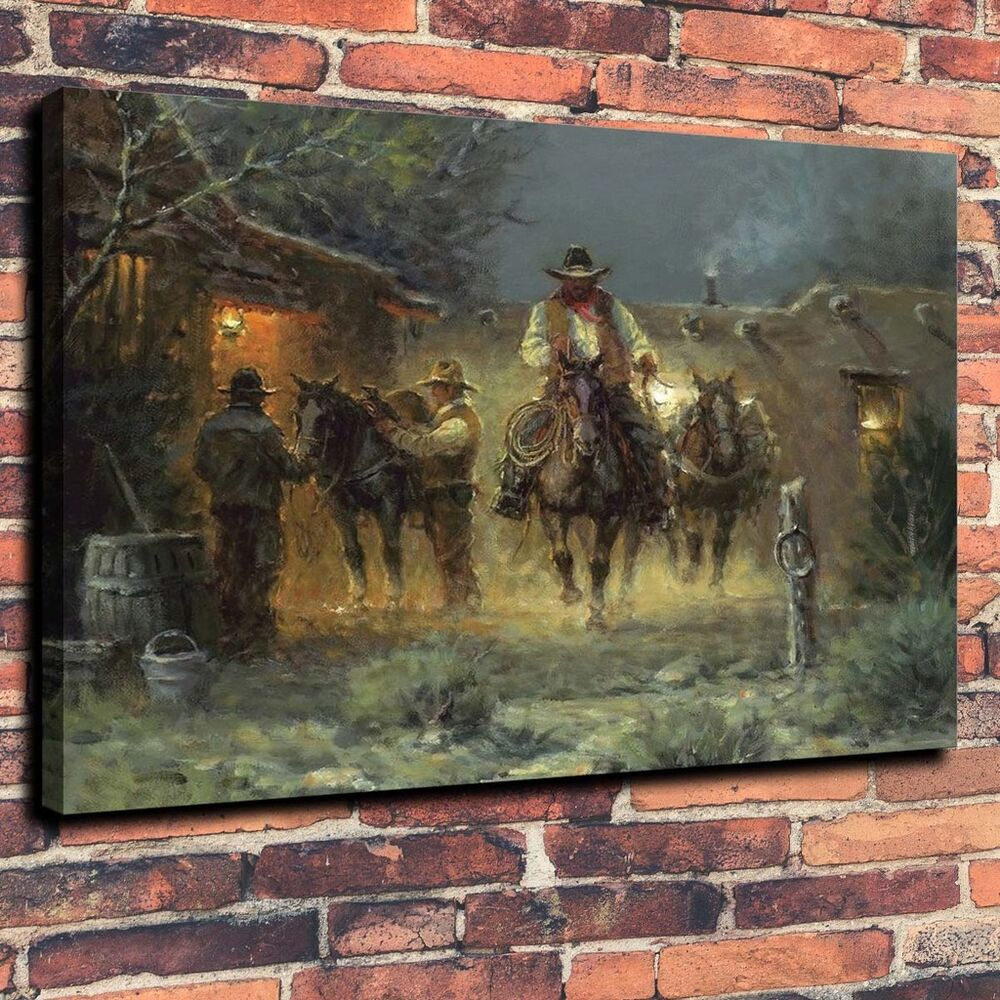 Art Quality Canvas Print Oil Painting Western Cowboy