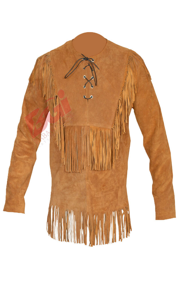 Men 39 s suede western cowboy leather shirt with fringe all for Leather jacket and shirt