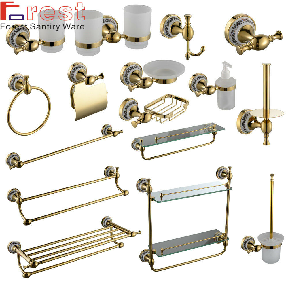 Luxury gold style solid brass wall mounted round bathroom for L k bathroom fittings