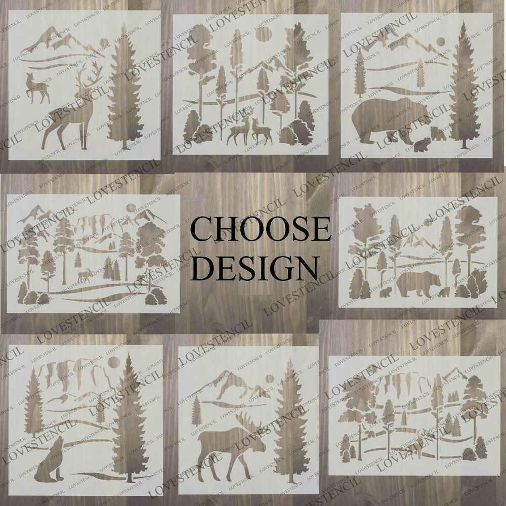 Deers In Forest Stencil Craft Fabric Glass Furniture Wall