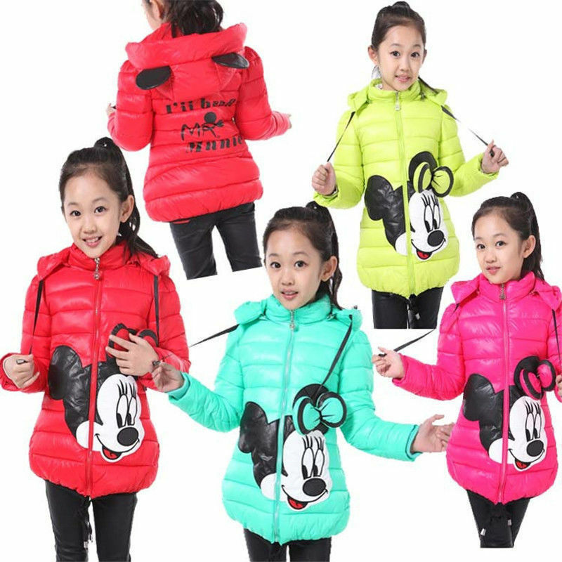 Kids Girls Cartoon Disney Mickey Hooded Winter Thick Coat