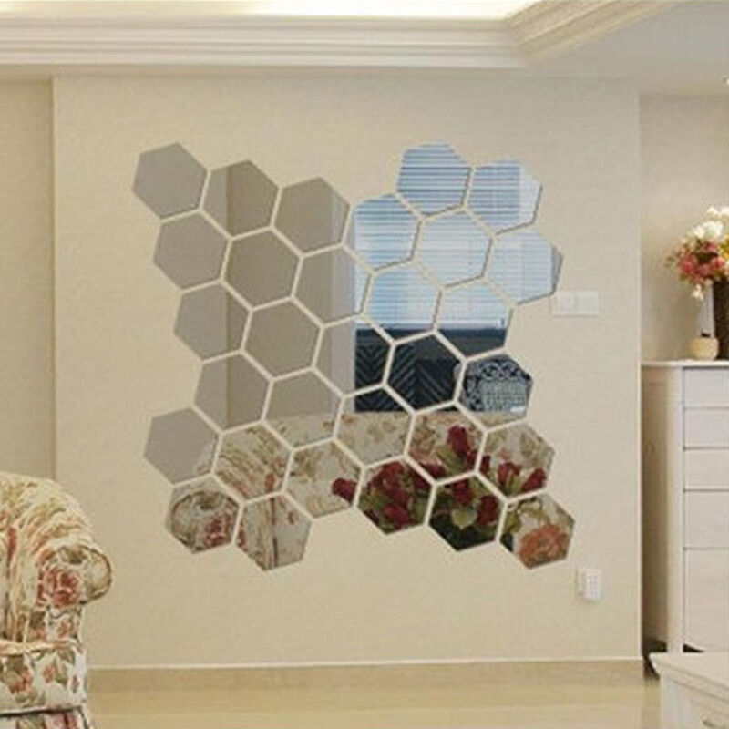 ... Hexagon Mirror Wall Sticker Home Decor Room Decal Decoration : eBay