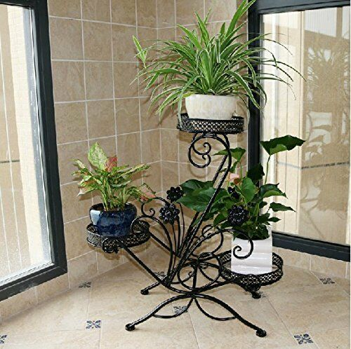 3 Tiered Metal Garden Patio Standing Plant Flower Pot Rack