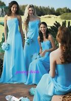 Turquoise blue Chiffon Evening Ball Gown  Bridesmaids Dress lace up back 1006