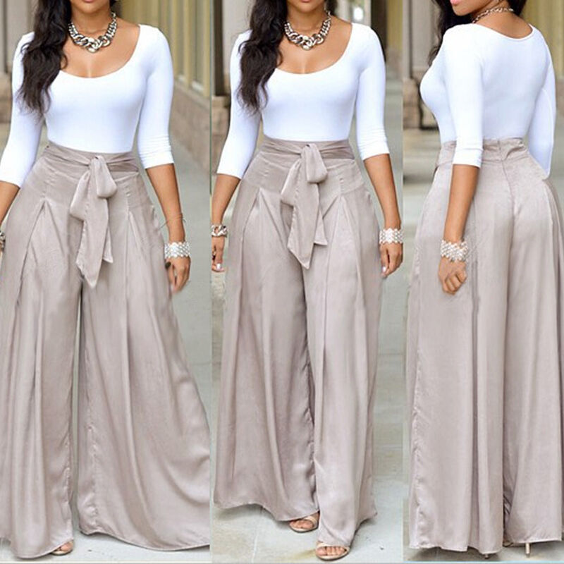 New Women Fashion High Waist Flare Wide Leg Long Vintage