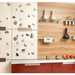 50 Real Size Mixed Fruit Chrome Sticker Kitchen Fridge Wall Car Decoration Decal