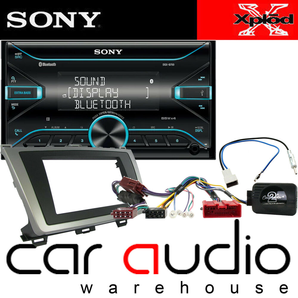 Mazda 6 Sony Cd Mp3 Usb Bluetooth Car Stereo Silver Fascia Bose 3 Fitting Kit Wiring Loom Ebay Steering