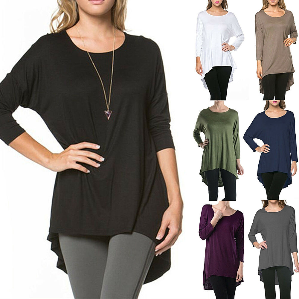 Long tunic top slouchy loose t shirt dress scoop neck for Is a tunic a dress or a shirt