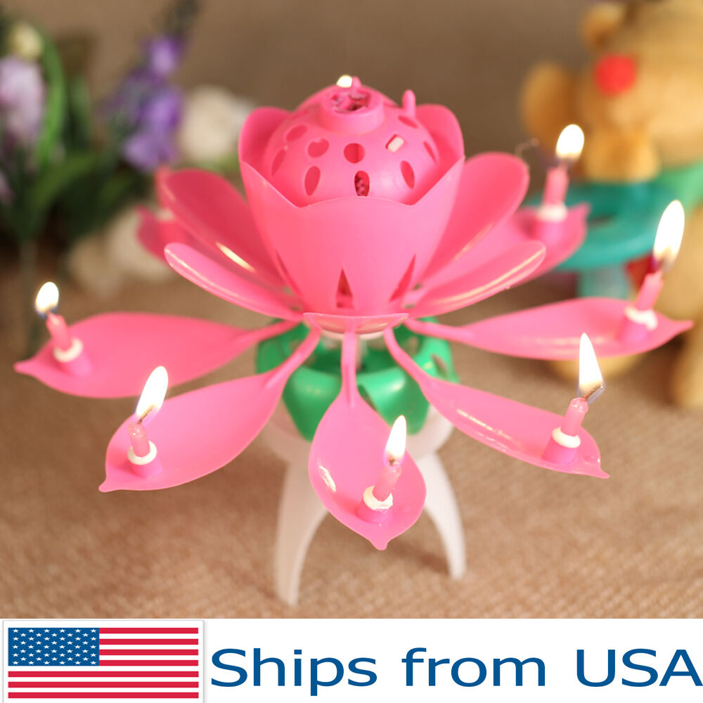 Lotus Candle Birthday Flower Musical Rotating Floral Cake Candles