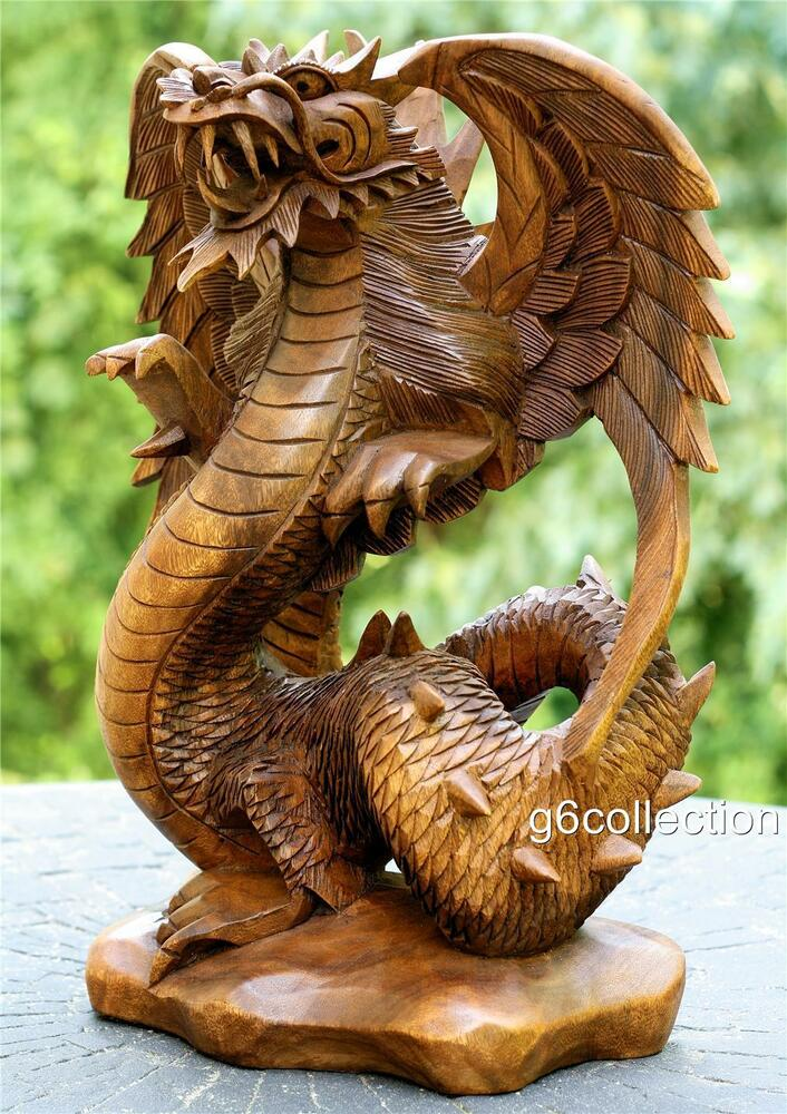 Quot hand carved wooden dragon statue sculpture figurine
