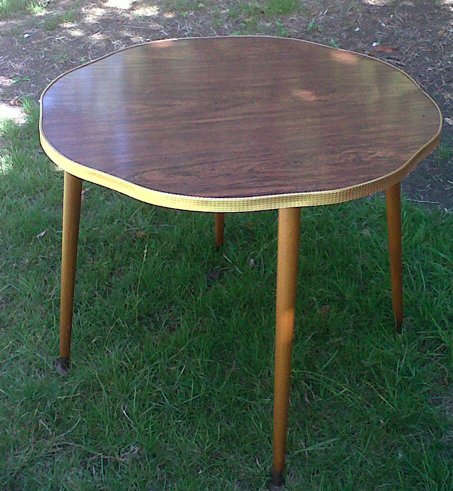 Retro vtg 60s 70s round formica coffee table atomic sputnik legs ebay Formica coffee table