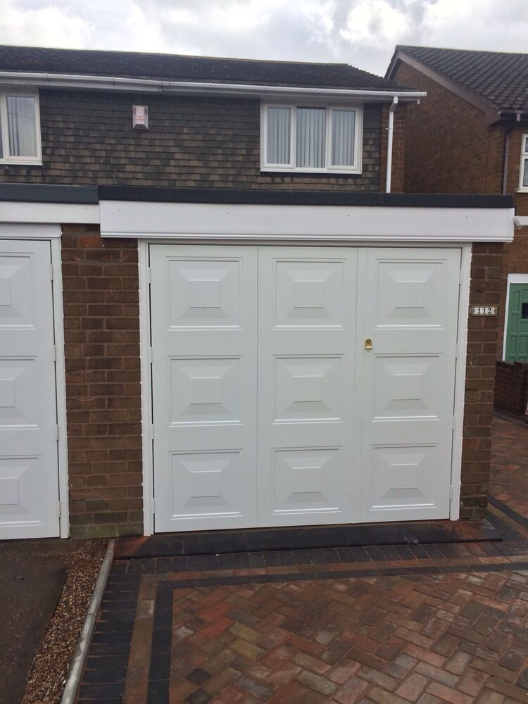Fully installed 1 3 x 2 3 square design white side hinged for Garage side door and frame