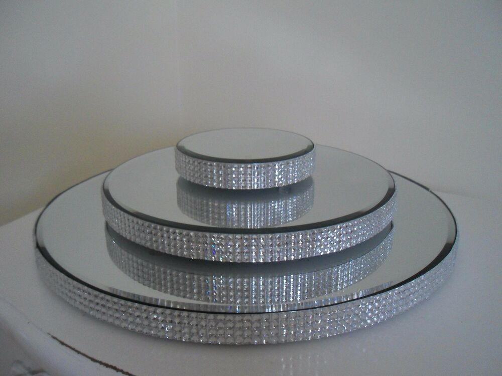 New Gorgeous Diamante Glass Mirror Plate Cake Stand Candle