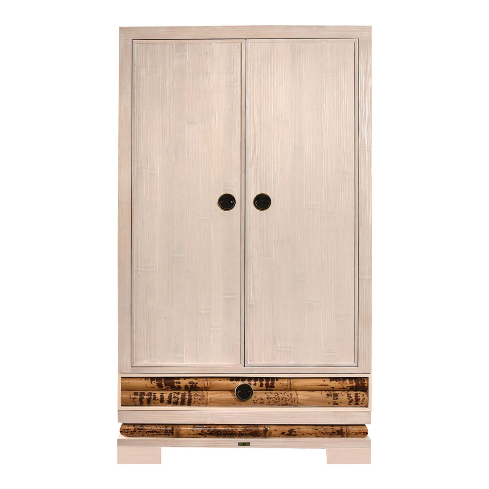bambusschrank eco wei schrank holzschrank kleiderschrank garderobe massiv natur ebay. Black Bedroom Furniture Sets. Home Design Ideas