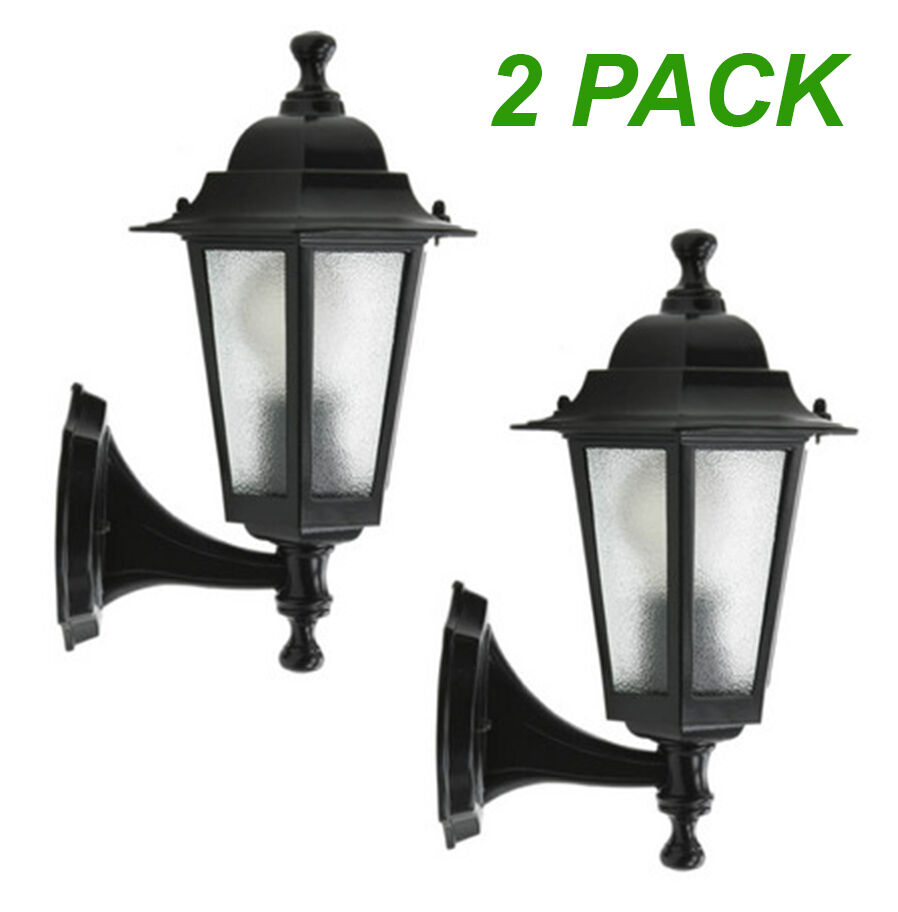 Wall Mounted Coach Lamps : 2xLarge Outdoor Coach Lights - Black - Wall Mount EX706B eBay