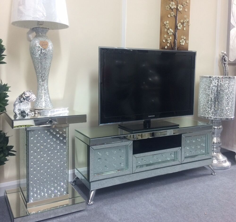 Venetian Mirrored With Floating Crystal Tv Stand Mirrored