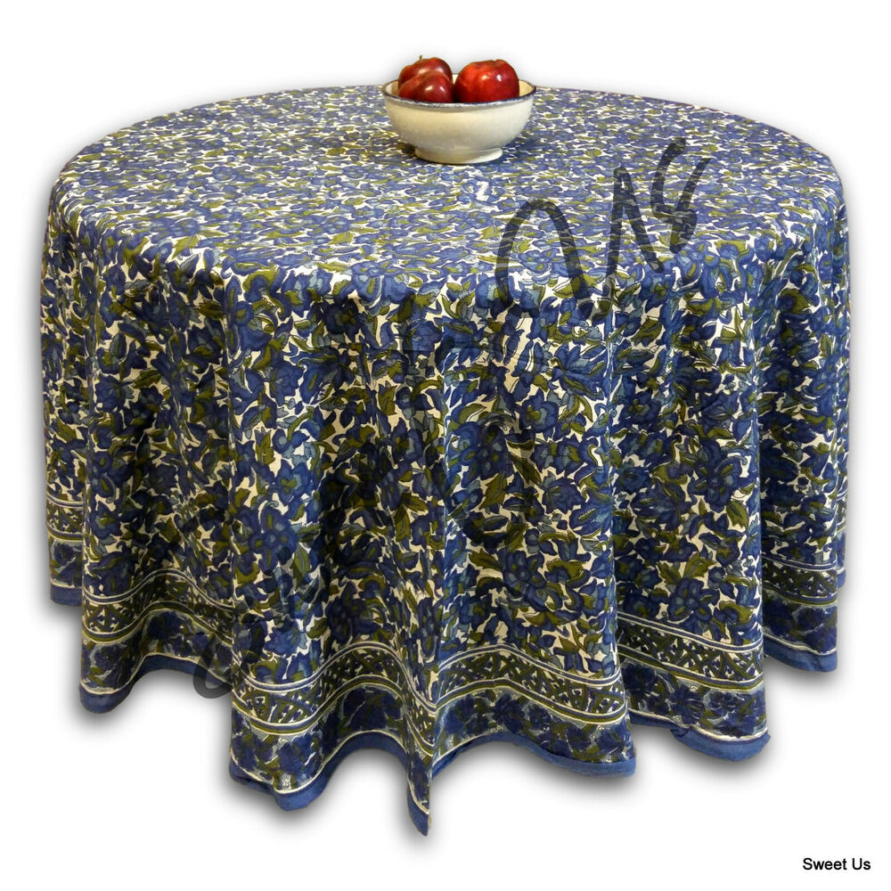 Handmade 100 Cotton Floral Tablecloth 90 Quot Round Blue