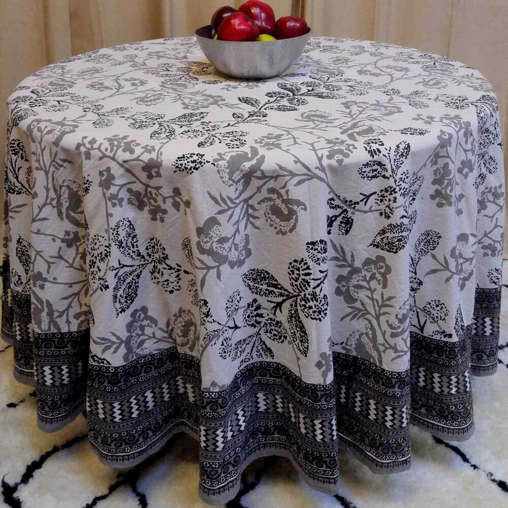 Handmade 100 Cotton Elegant Floral Tablecloth 90quot Round  : s l1000 from www.ebay.com size 1000 x 999 jpeg 218kB