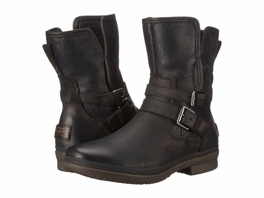Women's Shoes UGG Simmens WP Leather Belted Boots 1008439 ...