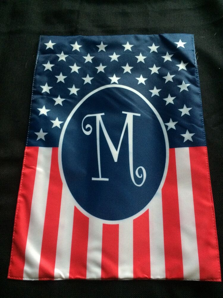 new  monogrammed holiday small garden flag m  4th of july  american gift usa