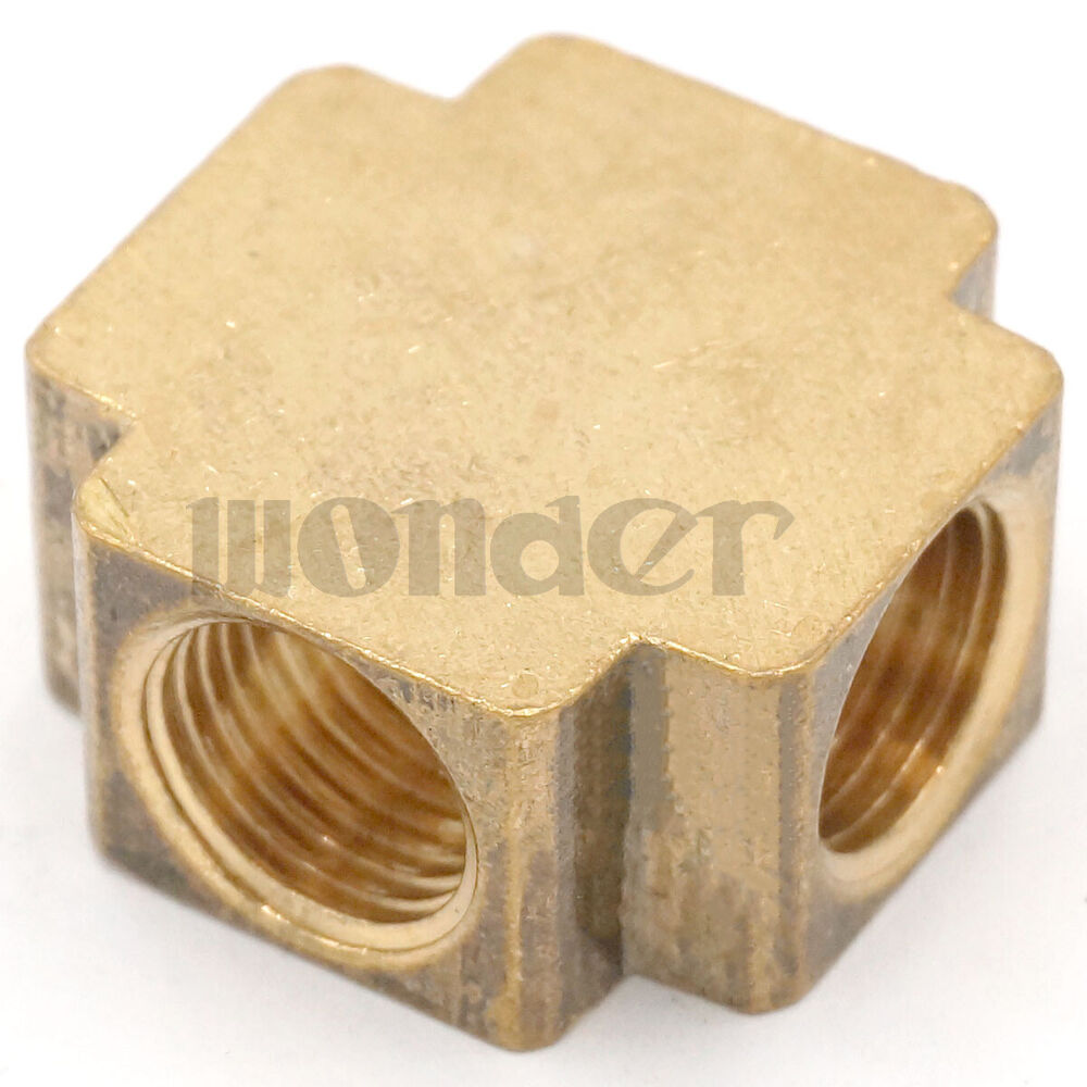 Cross way brass pipe fitting equal female connector