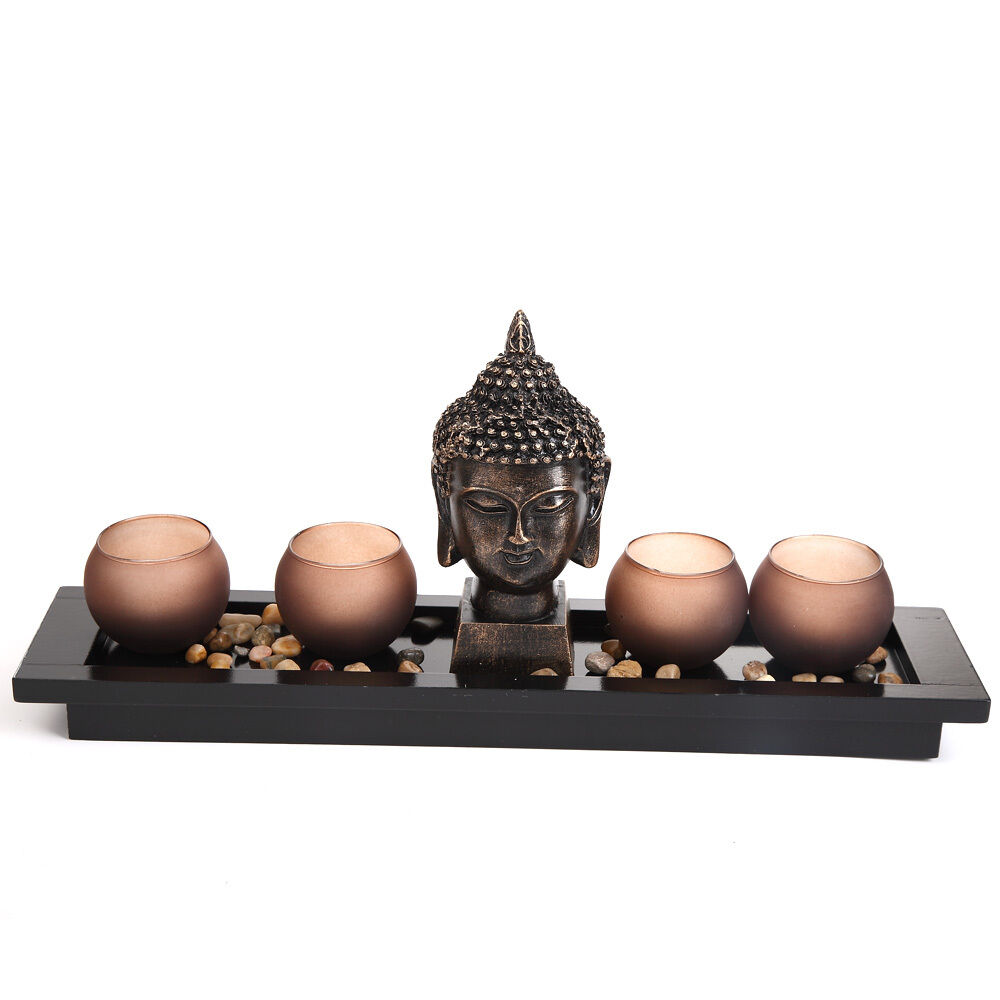 Thai buddha head ornament statue candle holders homware for Buddha decorations for the home uk