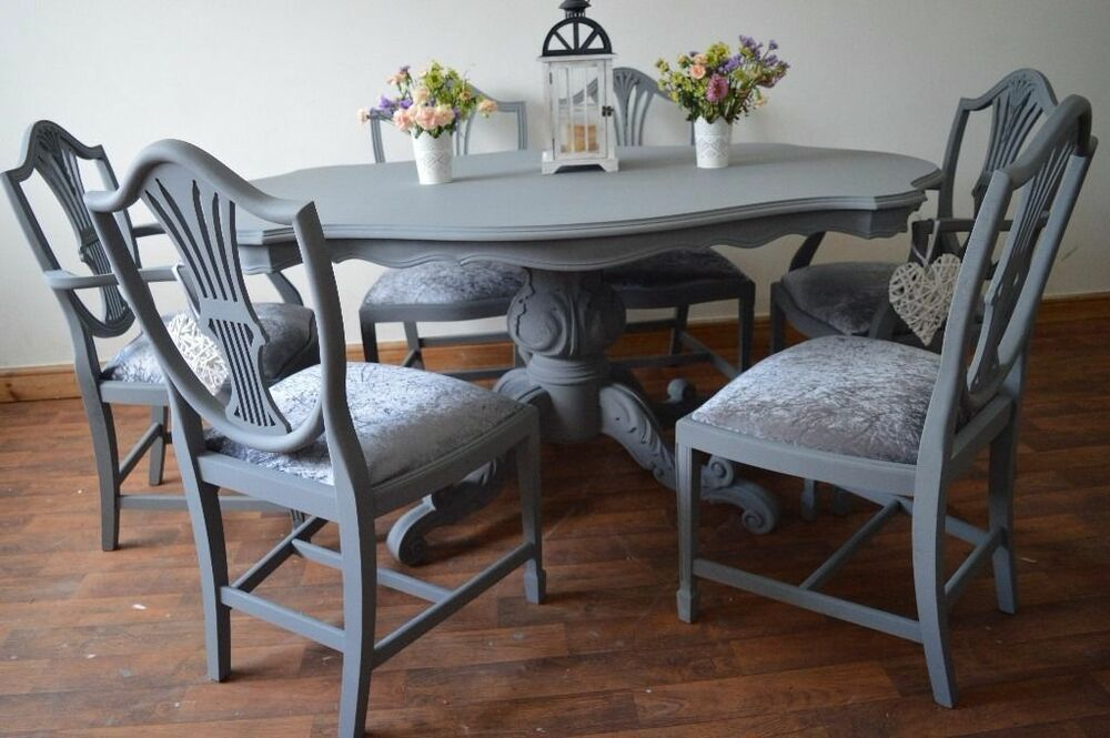 Shabby chic wood italian style dining table with 6 chairs velvet made to order ebay - Shabby chic round dining table and chairs ...