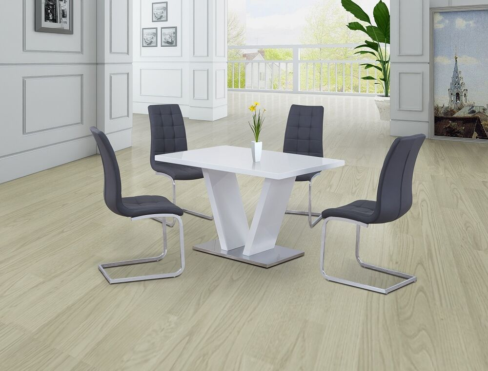 Contemporary White High Gloss Dining Set With 4x Grey