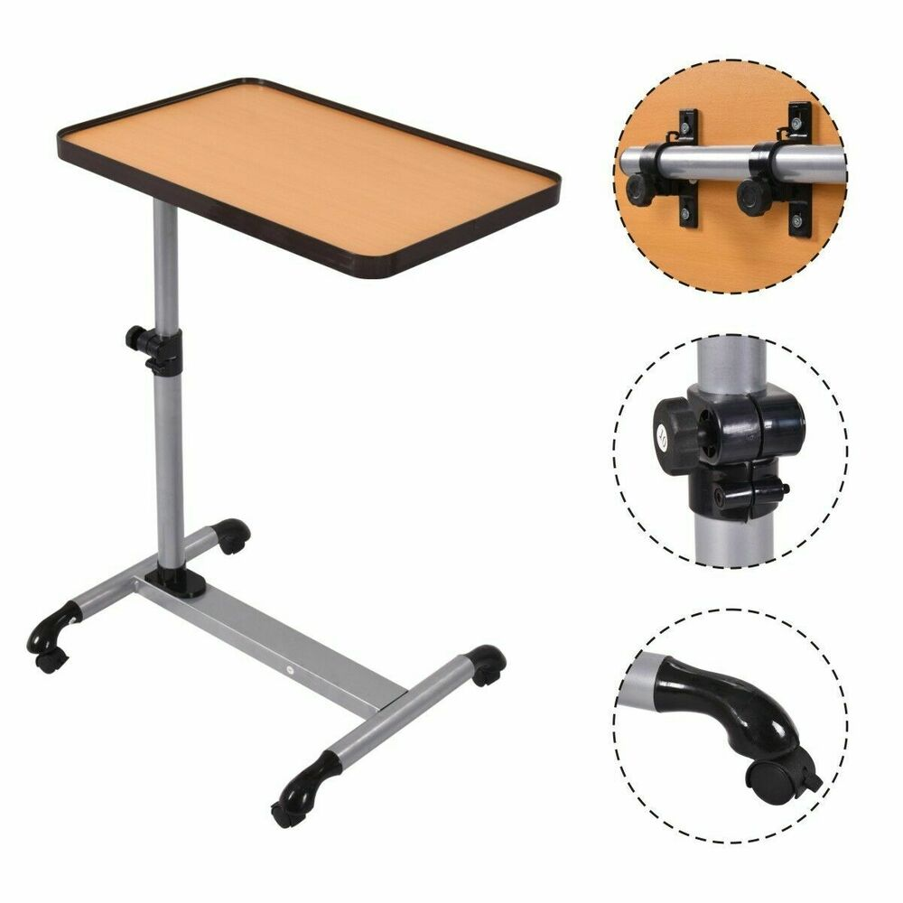Rolling adjustable overbed table laptop desk food tray for Table ordinateur