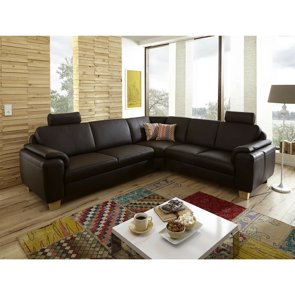 ecksofa sara wohnlandschaft sofa polsterm bel echtes leder in schoko braun ebay. Black Bedroom Furniture Sets. Home Design Ideas