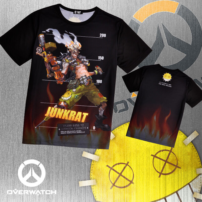 Overwatch junkrat double side printed full graphic anime t for Full size t shirt printing